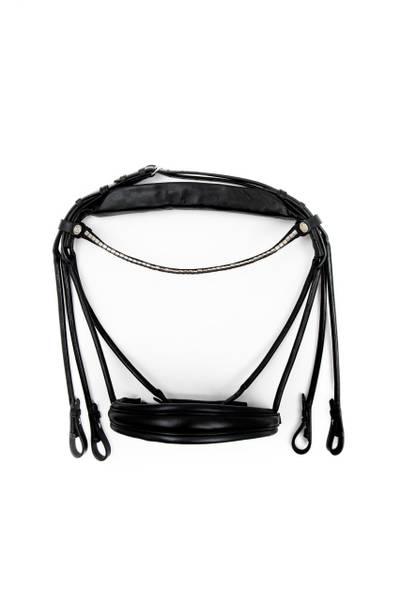 Bilde av Finesse Bridles kandarhodelag svart/svart sølv